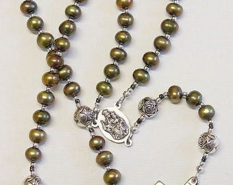 Catholic Rosay Prayer Beads Golden Teal Fresh Water Pearls