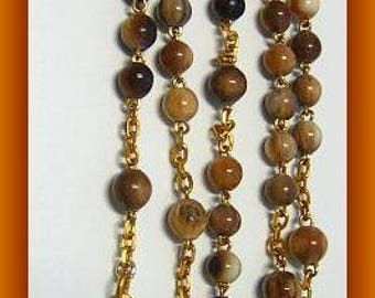 Vintage Catholic Rosary Dark Bone Gold Plated Cross and Center - Art Nouveau
