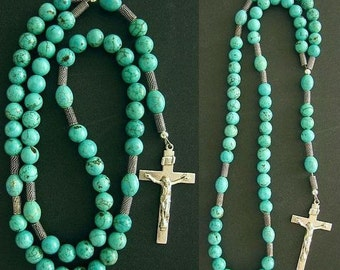 Catholic Rosary Prayer Beads Turquoise & Sterling Silver