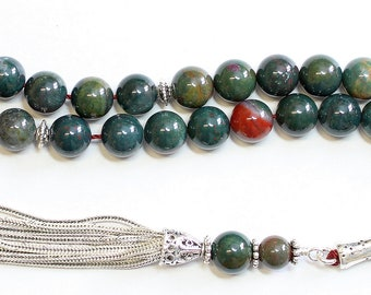 Luxury Tesbih Prayer Beads AA Grade Round Bloodstone & Sterling Silver - Top Quality - Collector's