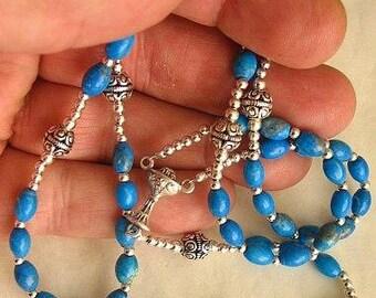 Catholic First Communion Rosary Prayer Beads Arizona Turquoise & Sterling Silver