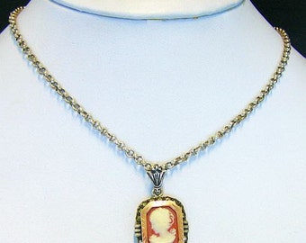 Vintage Shell Cameo Set in Sterling and Gold With Heavy Handmade Sterling Chain