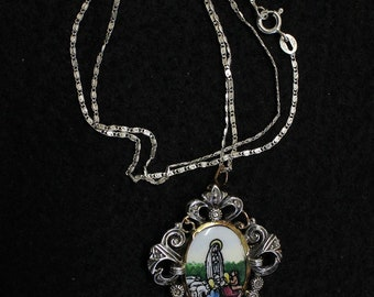 1920's Two sided Medal Mary Lady of Fatima Hand Painted Miniature in Silver & Gold Frame - Rare