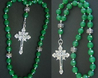 Beaded CHOTKI KOMBOSKINI Genuine Emerald, Pearls and sterling Silver - ORTHODOX Rosary