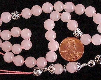 Greek KOMBOLOI Sterling Silver and Pink Quartz Worry Beads