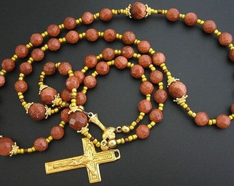 Catholic Rosary - 5 decades -  Brown Goldstone and Vermeil