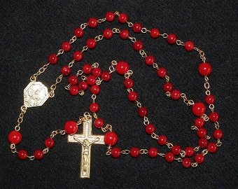 Catholic Chain Rosary Chaplet Prayer Beads Red Coral And Gold - Our Lady of Fatima