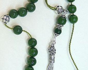 Worry Beads Greek Komboloi Deep Green jade and Sterling Silver