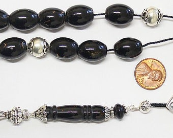 Greek Komboloi Large Barrel Yussuri (Black Coral) + Sterling Silver - Impressive