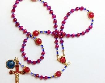 Catholic Rosary Genuine Round Ruby - Lourdes Vintage Cross, Center & Vintage Medal