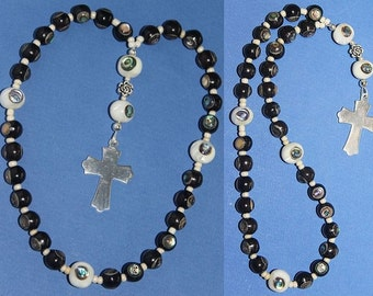 Anglican Episcopal Rosary Prayer Beads : Ebony and Troca Shell inlaid with Paua  and Sterling Silver
