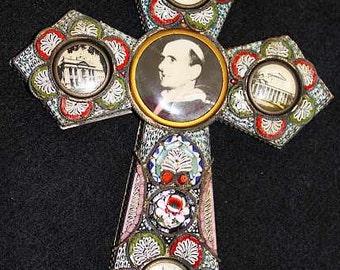 Vintage Papal micro mosaic cross - crucifix PAUL VI , 1975, Rare