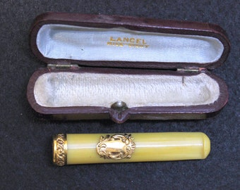 UNUSED Yellow Amber Vintage Cased Cigarette Holder w 18k Gold Rim & Cartouche LANCEL