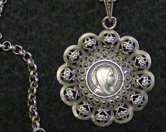 Impressive Sterling & Marcassite Open Work Medal of Mary w Sterling Chain 1950's