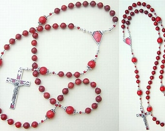 Catholic Rosary in Red Coral and Sterling Silver With Vintage Enameled Cross and Center