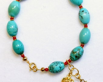 Catholic Rosary Bracelet Oval Genuine Turquoise Coral, Micro Mosaic Cross & Vermeil