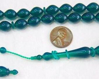 Prayer Worry  Beads Tesbih Green Turkish Amber Catalin - SUPERIOR CARVING