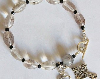 Catholic Rosary Bracelet Rosenkranz in Smoky Quartz & Sterling Silver