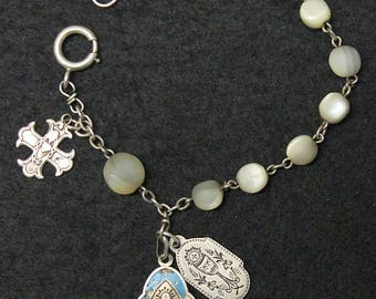 DD.1888 M.O.P and Sterling First Communion Rosary Bracelet Chaplet with Sterling Silver and Enamel Medals