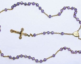 Catholic Vintage Rosary New Old Stock Lilac Crystal Vermeil Exquisite Series No11