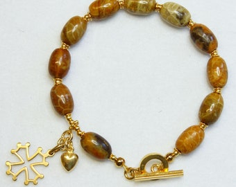 Catholic Rosary Bracelet Oval Fossil Coral and Vermeil
