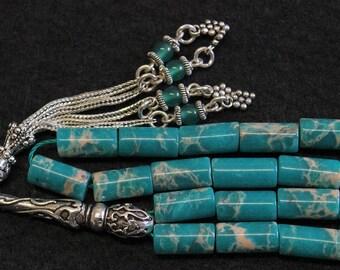 Prayer Worry Beads Komboloi Snake Skin Jasper & Sterling Silver