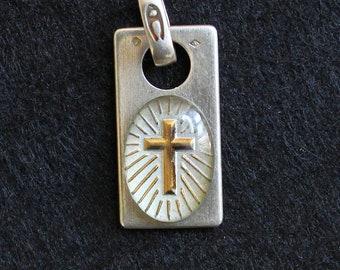 Religious Medal Pendant Enameled Golden Cross in Sterling Silver Frame - Rare