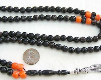 Islamic Prayer Beads Tesbih Vintage Yusr ( Black Coral) + Orange Coral and Sterling Silver - Rare Collector's