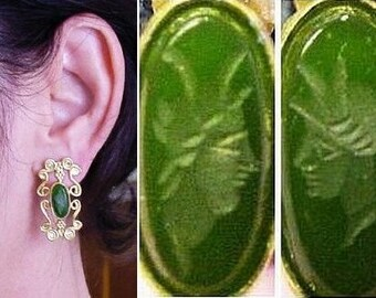 Roman Queen Gold and Jade Intaglio Vintage Earrings by The Swan Collection