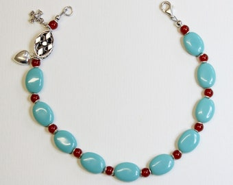 Catholic Rosary Bracelet Turquoise Carnelian & Sterling Silver