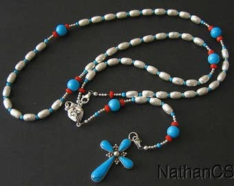 Heavy Sterling Silver, Genuine Coral & Turquoise Wearable Rosary, Pendant and  Necklace **SEE**