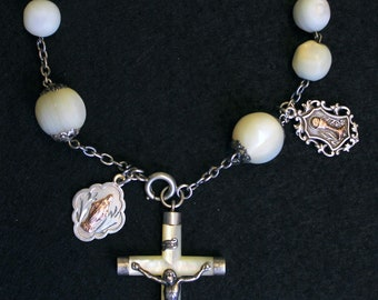 Antique Large M.O.P & Sterling 1 Decade First Communion Rosary Chaplet w XXR Silver/Gold Medals