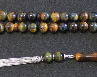 Luxury Prayer Beads Tesbih Hawk Eye and Sterling Top Quality -  Collector's item