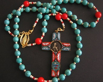 Catholic Rosary Genuine Turquoise and Coral with Pius XI Micromosaic 1925 Jubilee Cross -- XXXRare