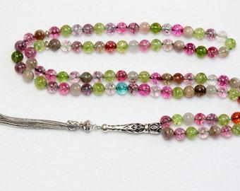 Islamic Prayer Beads Gebteskette 99 Tourmaline & Sterling Silver
