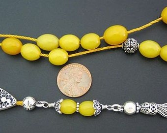 Greek Komboloi Worry Beads Genuine Butterscotch Amber  and Sterling Silver- Collector's