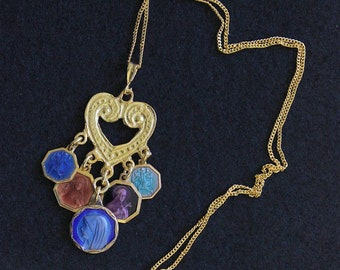 Vermeil Heart Pendant with 5 Vintage Rare Religious Medals Enameled on Both Sides