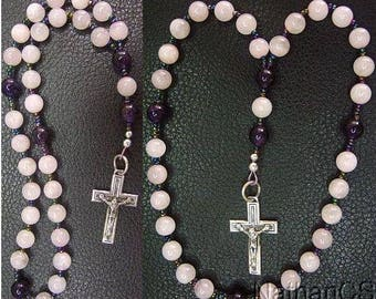 Anglican Episcopal Rosary Pink Quartz, Amethyst and Sterling Silver