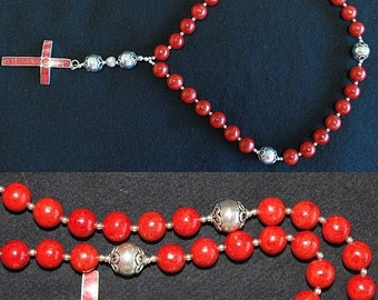 Anglican Episcopal Rosary Prayer Beads Red spoNge Coral and Sterling silver