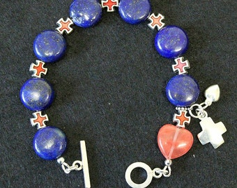 Anglican Episcopal Rosary Bracelet  : Lapis , Rose Quartz, Sterling Silver and Enamel