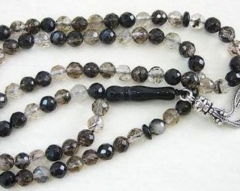 Islamic Prayer Beads Tesbih Faceted 99 Black Matrix Quartz and Sterling Silver