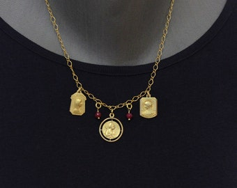 Necklace on Vermeil Chain w 3 Gold Filled Vintage Medals Pendants & Ruby