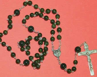 Catholic Chain Rosary Prayer Beads Nephrite Jade and Sterling Silver