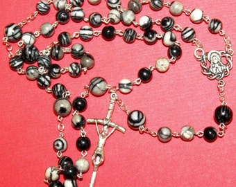 Catholic Chain Rosary Prayer Beads Silkstone Onyx and Sterling Silver