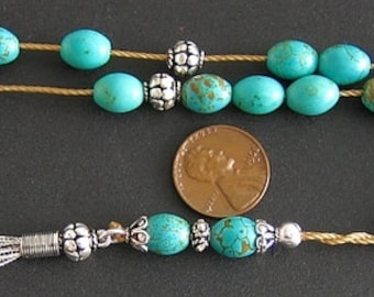Greek Komboloi Worry Beads Teal with Gold Matrix Turquoise and Sterling Silver