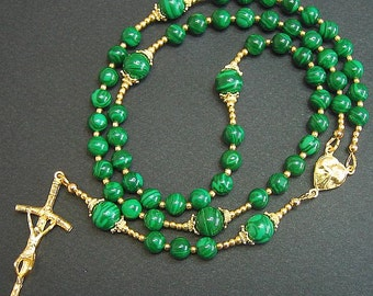 Catholic Rosary Prayer Beads Malachite & Vermeil