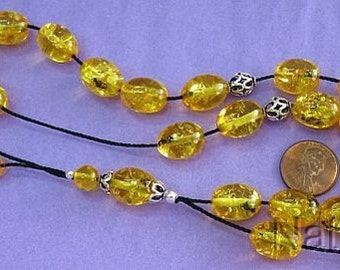 Greek Komboloi Oval Amber Colored Resin With Insects in each Bead and Sterling Silver
