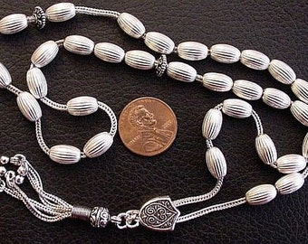 Worry Beads Greek Komboloi Entirely in Heavy Sterling Silver