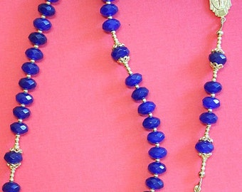 Catholic Rosary Genuine Faceted Sapphire and Vermeil