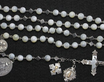 Highly Unusual & Large 1920's MOP, Sterling Catholic Rosary Many Rare Antique Medals